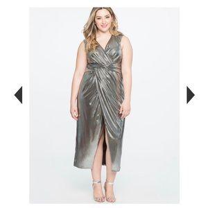 Twist front metallic gown